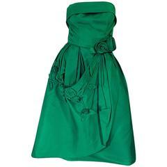 1950s 3D Flower Applique Green Silk Suzy Perette Dress