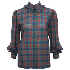 Girlish 1970's Guy Laroche Wool Plaid Top With Ruffled Collar