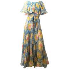 70s Painterly Floral I.Magnin & Co. Maxi Dress