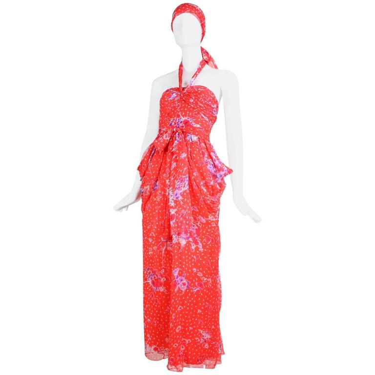 Givenchy Red Floral Silk Chiffon Gown, 1970s