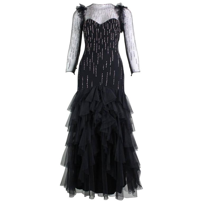 1970's Loris Azzaro Net Glitter Gown