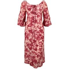 1970's YVES SAINT LAURENT silk floral printed dress
