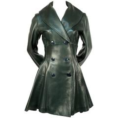 1990's AZZEDINE ALAIA green leather coat with peplum