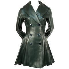 1990's AZZEDINE ALAIA green leather coat with peplum