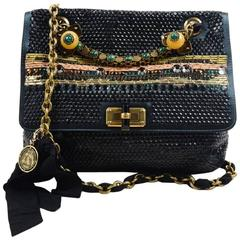 Lanvin Black Satin Bijoux Sequin Turnlock 'Happy' Shoulder Bag