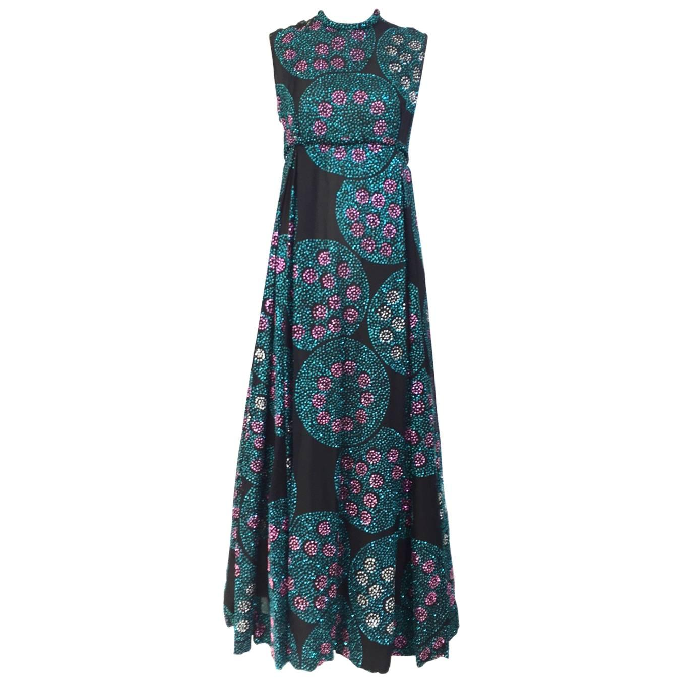 1970s CARDINALI Green and pink circle sequin gown