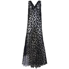 1930s Black Lace Vintage Gown