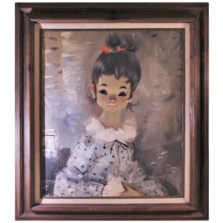 IGOR PANTUHOFF Original Girl with Grey Hair & Red Bow Circa 1970's