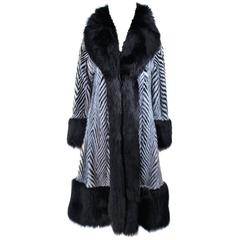 FACCARIA FURS Black and White Mink Chevron Fur Coat with Fox Trim Size  4 6