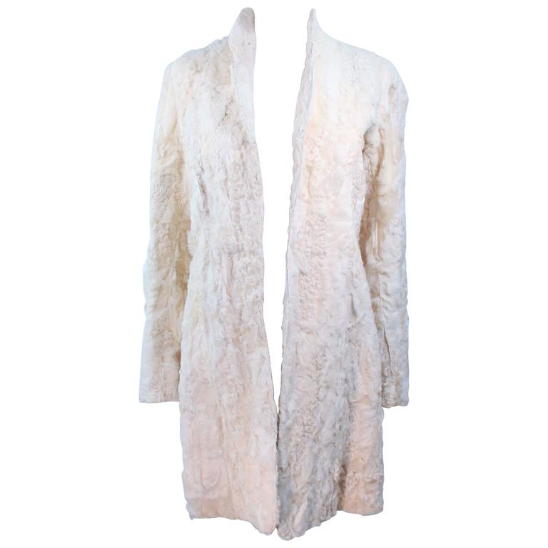 NORMA KAMALI OMO Off White Lamb Fur Coat Size 4 6