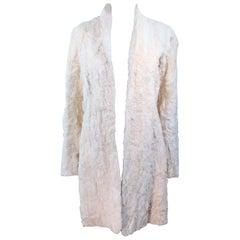 NORMA KAMALI OMO Off White Lamb Fur Coat Size 4 6