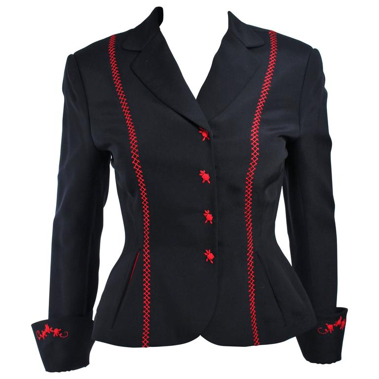 RICHARD TYLER Black and Red Fitted Jacket with Floral Pattern Size 2 4 For Sale