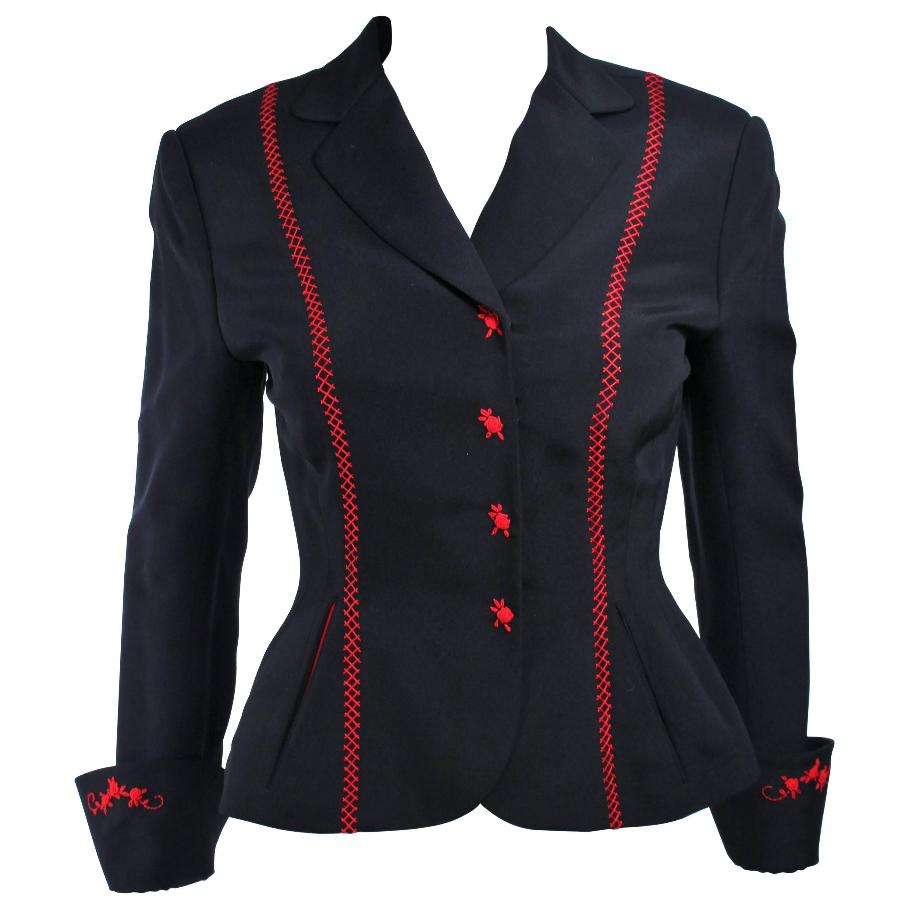 RICHARD TYLER Black and Red Fitted Jacket with Floral Pattern Size 2 4