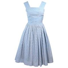 Vintage 1950's Blue and White Eyelet Dress Size 2