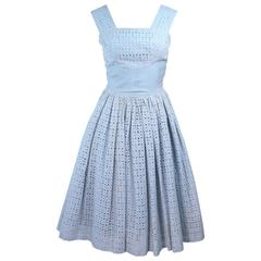 Vintage 1950's Blue and White Eyelet Dress Size 2