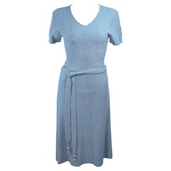 SNYDER 1950's Blue Wool Knit Iridescent Cocktail Dress Size 4 6