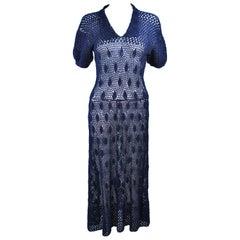 Vintage 1950's Navy Blue Crochet Knit Dress Size 4 6