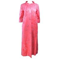 Pink 1950's Silk Beaded Opera Coat Size 6