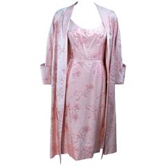 CLEMO 1950's Pink Silk Sequin Cocktail Dress and Coat Ensemble Size 4