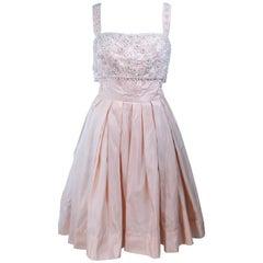EDITH HEYMAN 1950's Pink Silk Cocktail Embellished Dress Size 4