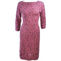 SYDNEY'S BEVERLY HILLS 1960's Pink & Black Stretch Knit Cocktail Dress Size 2 4
