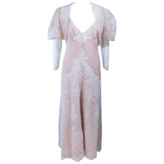 1970's Custom Nude and White Lace Ensemble Puff Sleeve Bolero Size 4