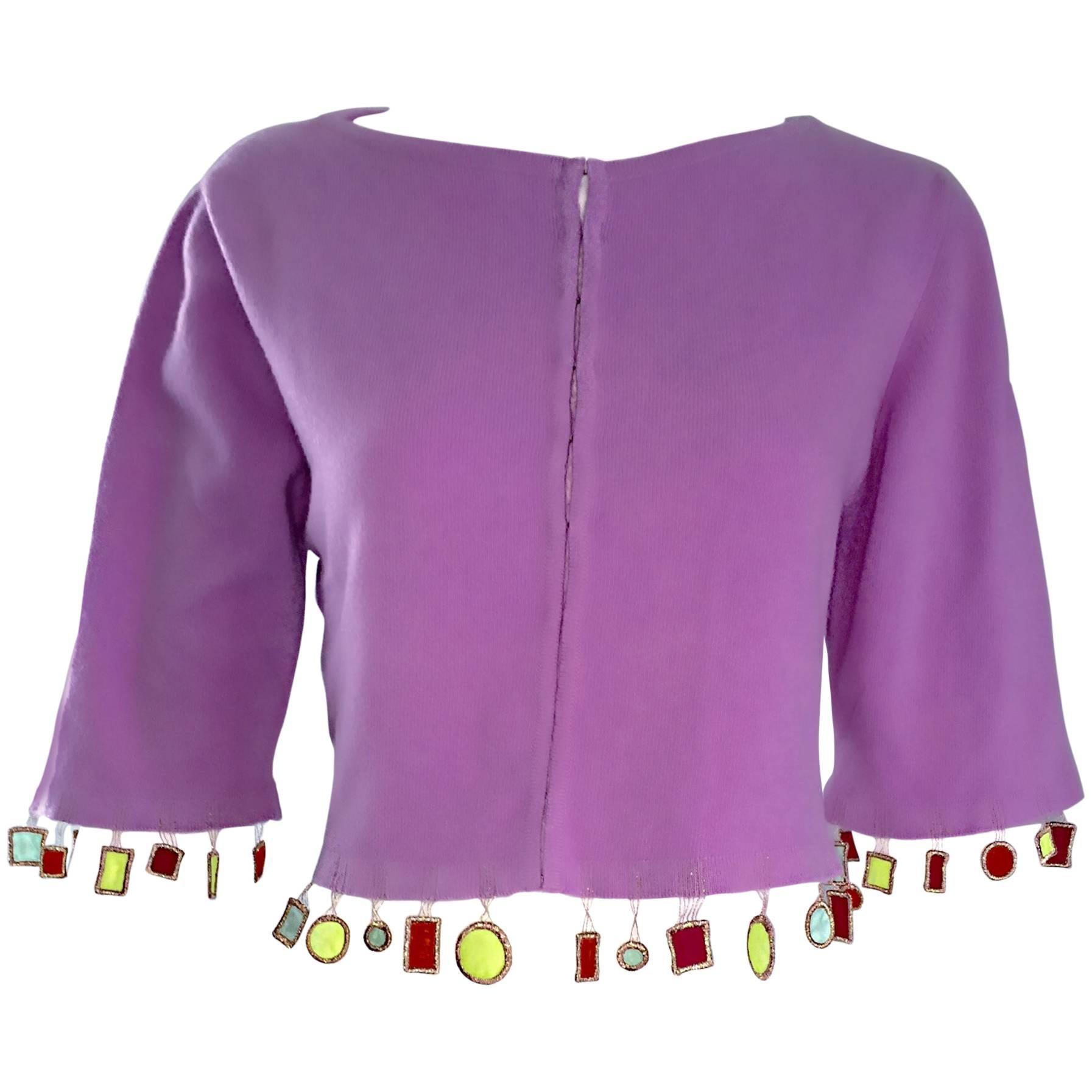 Mathew Williamson Whimsical Lilac Purple Cashmere 3/4 Sleeve Cropped Cardigan