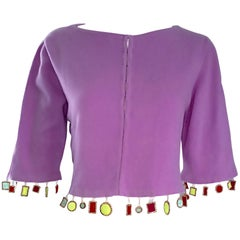 Mathew Williamson Whimsical Lilac Purple Cashmere 3/4 Sleeve Cropped Cardigan