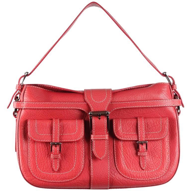 VALENTINO GARAVANI Red Leather SHOULDER BAG Handbag w/ FRONT POCKETS