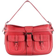 VALENTINO GARAVANI Red Leather SHOULDER BAG Handbag w/ FRONT POCKETS
