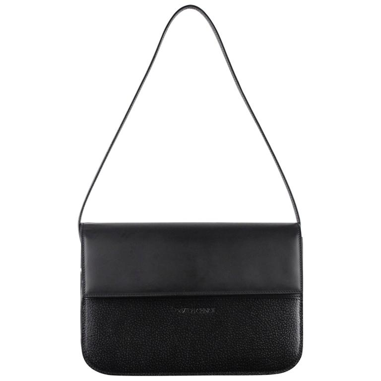DAVIDE CENCI Black Leather Structured SHOULDER BAG Handbag For ...