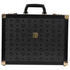 MCM MUNCHEN Black LOGO Canvas & Leather BRIEFCASE Attache HARD SIDED Bag