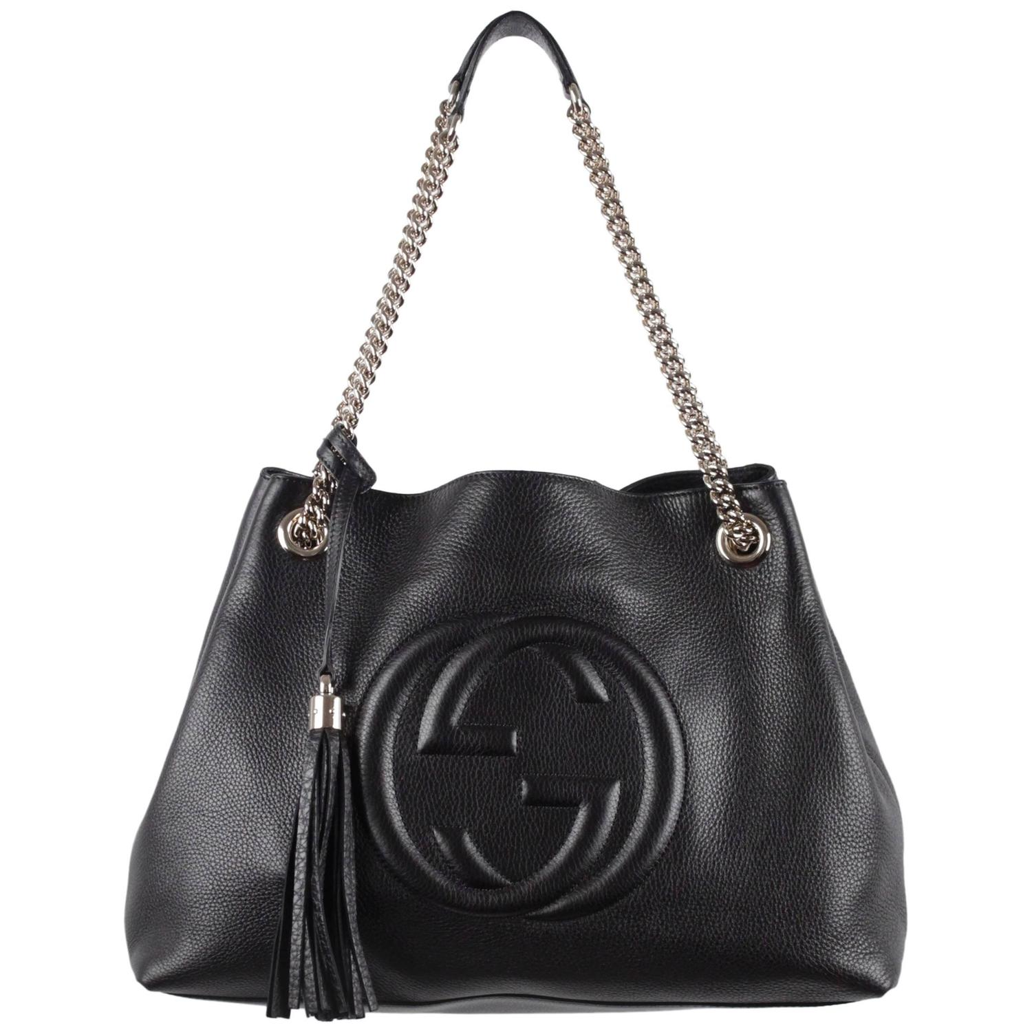 GUCCI Black Leather SOHO TOTE Shopping SHOULDER BAG w/ GG ...