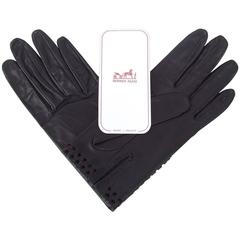 Hermes Women Gloves in Black Leather Size 8