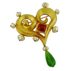 Christian Lacroix Vintage Jewelled Baroque Heart Brooch