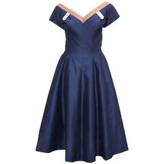 Classic 1950's Reich Original Navy Blue Full Skirted Party Dress