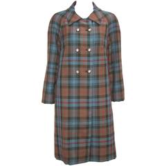 C.1950 Brown Plaid Double Breasted Coat With Surprise Rhinestone Buttons