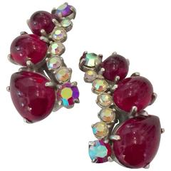 1950s Large SCHIAPARELLI  Ruby Red Crescent Borealis Cabochon Clip Earrings