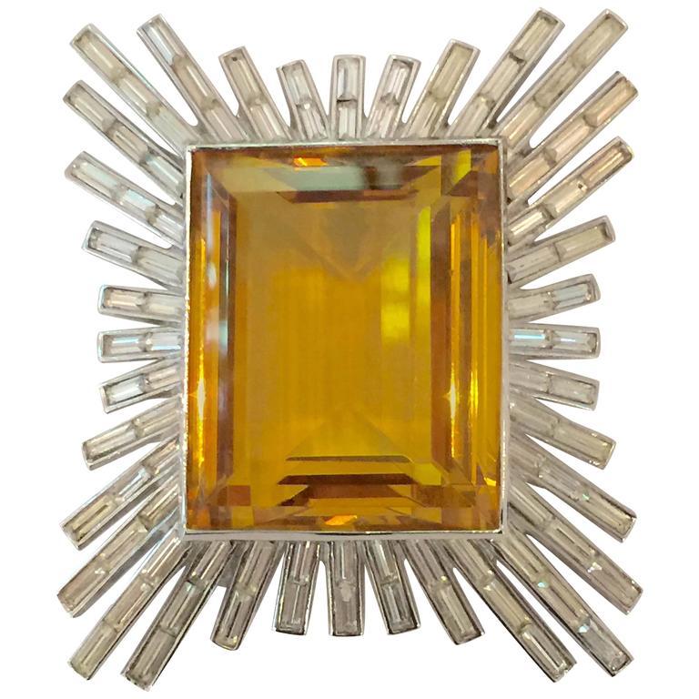 Dazzling 1950s Brilliant Baguette TRIFARI Brooch Pin with MASSIVE Amber Stone For Sale