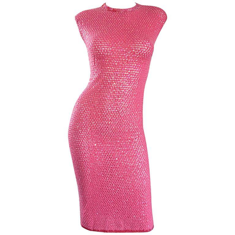 1950s Hot Pink Vintage Sequin Irridescent Allover Sequin Crochet Wiggle Dress For Sale