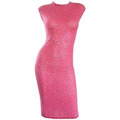 1950s Hot Pink Vintage Sequin Irridescent Allover Sequin Crochet Wiggle Dress