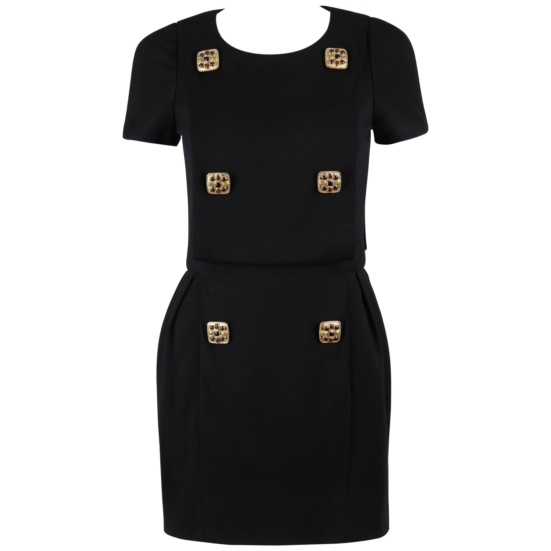 CHANEL PARIS-BYZANCE 11A Black Wool Short Sleeve Gripoix Button Dress Sz 36
