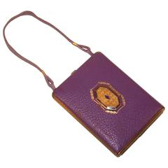 Art Deco 1920's Mondaine Purple Leather Compact Wristlet