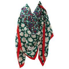 Yves Saint Large Printed Floral Silk Scarf