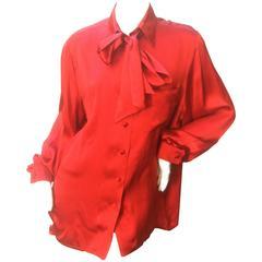 Hermes Paris Sumptuous Scarlet Silk Charmeuse Blouse c 1970s
