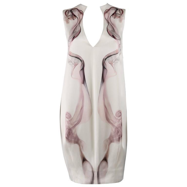 NWT S/S 2009 ALEXANDER McQUEEN White 100% Silk Smoke Print Shift Dress Size 44