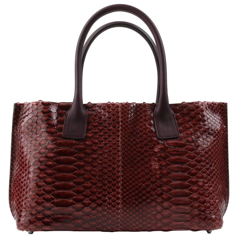 Brunello Cucinelli Burgundy Red Genuine Python Snakeskin Satchel Handbag Purse For
