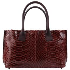 BRUNELLO CUCINELLI Burgundy Red Genuine Python Snakeskin Satchel Handbag Purse