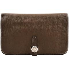 "Hermes ""Etoupe"" Taupe Clemence Leather & Lambskin ""Dogon Duo"" Wallet"