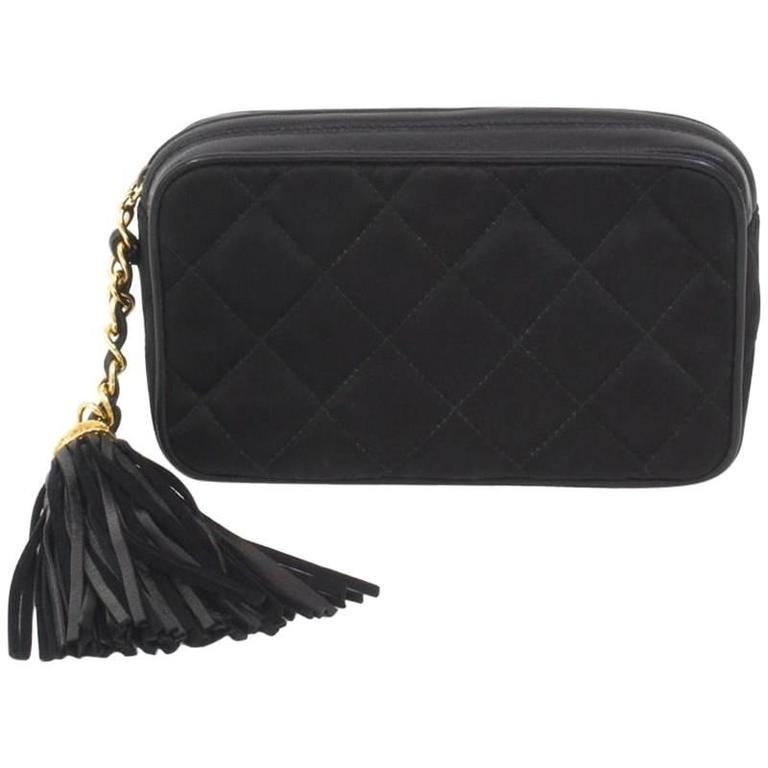 Chanel Black Quilted Satin Leather Trim Tassel Gold Cc Clutch Evening Bag For